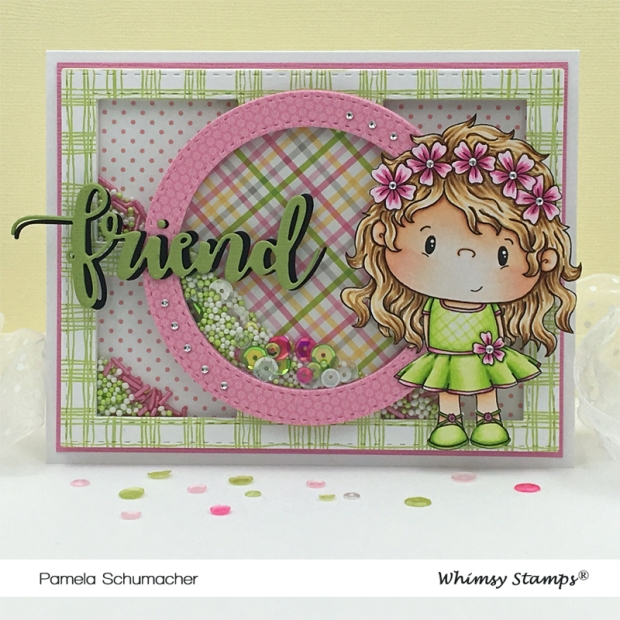 Pam_Fleur Digital_Scratchy Plaid Background_Shaker Maker Combo Die_Friend Word and Shadow Die_Peekaboo Window 2 Die